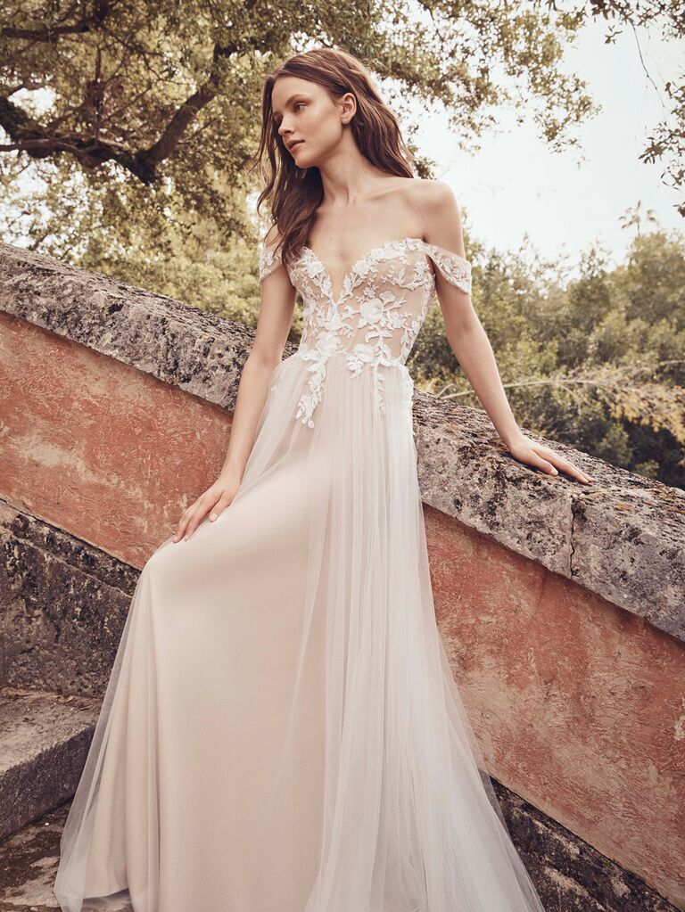 Monique Lhuillier Spring 2020 Bridal Collection off-white wedding dress with lace bodice