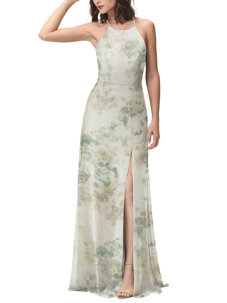 Green floral bridesmaid dress with slit skirt