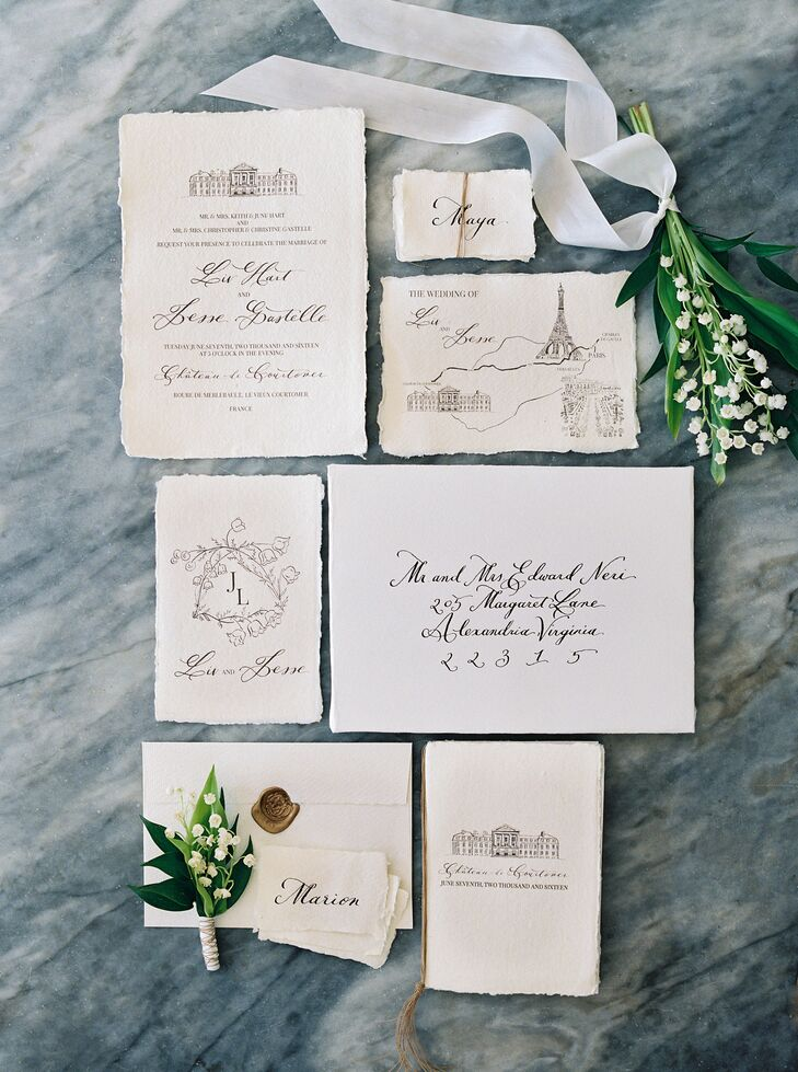 To set the tone for the fabulous French soiree to come, Liv and Jesse's planner Lindsay of House of Hannah created a custom suite of vintage-inspired invitations with elegant script, a lily of the valley motif and drawings of Château de Courtomer and key Paris landmarks.
