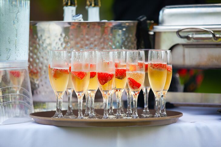 Right after the ceremony, the couple and their guests toasted to their marriage with champagne accented with strawberries.