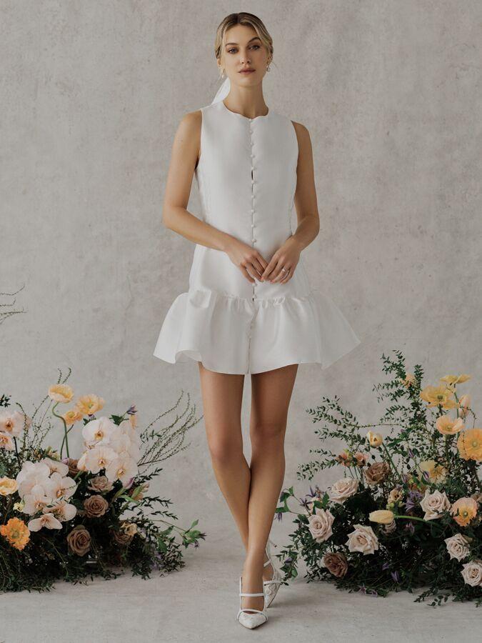 Alexandra Grecco Poppy silk blend satin mikado shift dress