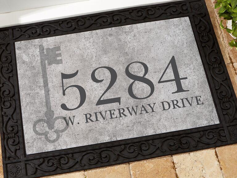 Custom address door mat gift for boyfriend/girlfriend's parents