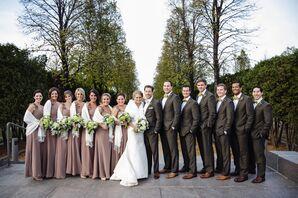 Taupe Floor-Length Bill Levkoff Bridesmaid Dresses