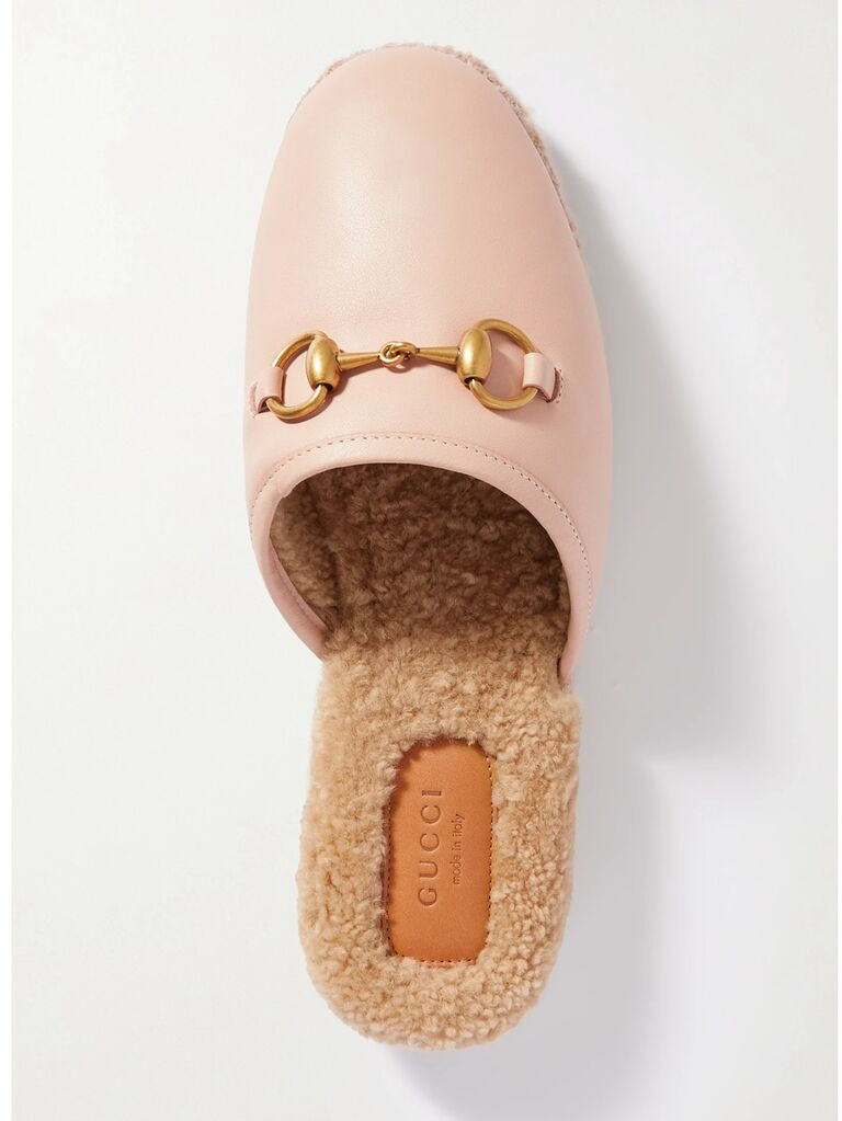 net a porter light pink gucci leather loafer bride slippers with gold detailing