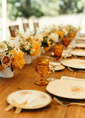 Vintage Dishes, Golden Glassware and Bright Blooms Created a Cozy Wedding Reception Vibe