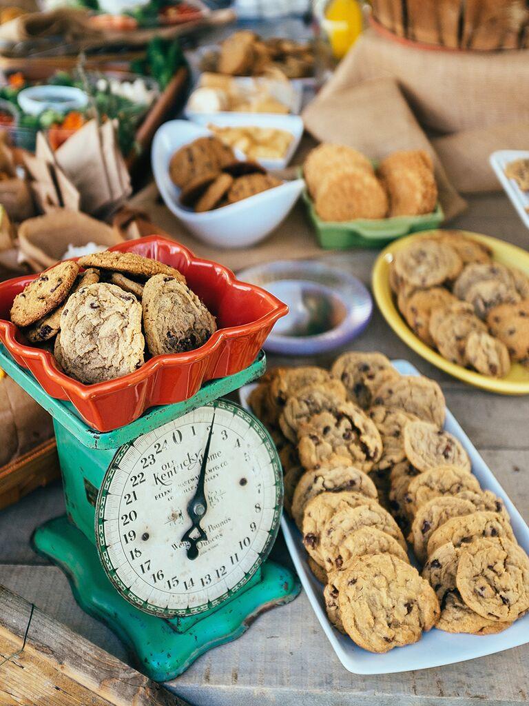 Cookie bar dessert station for a wedding reception