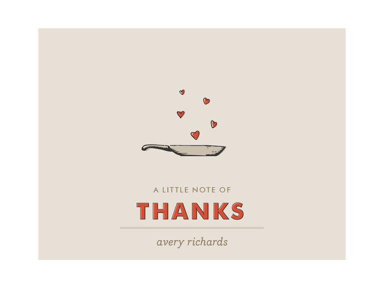 Skillet motif wedding shower thank-you card
