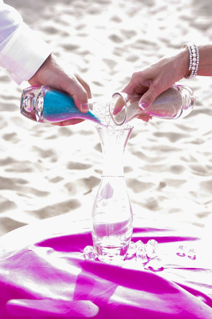 Amanda and Jason had a sand-unity ceremony that was perfect for their beach wedding.