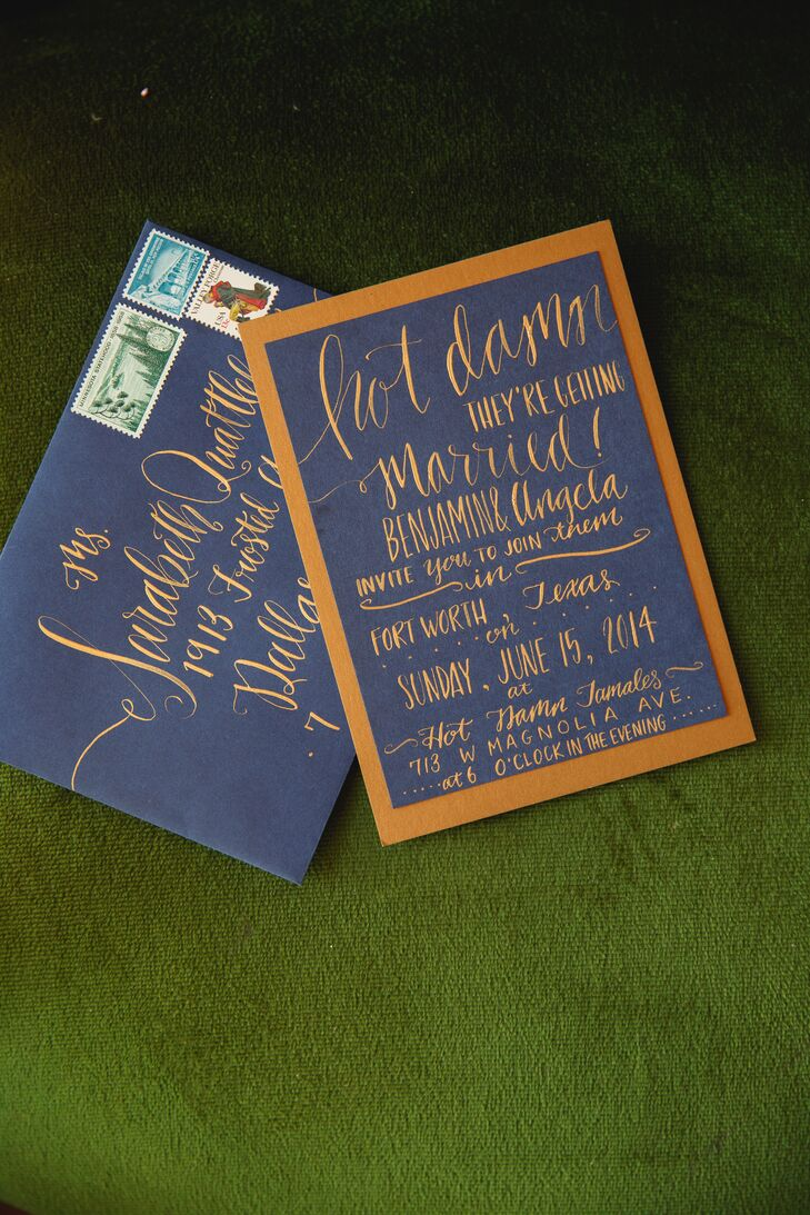 Hand Calligraphy Blue and Gold Invitations