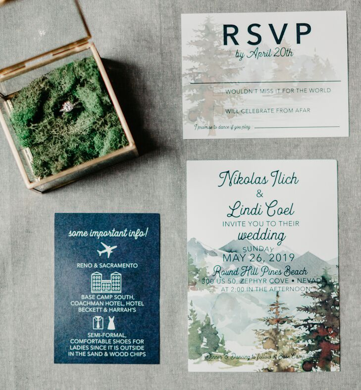 Custom Navy and Green Wedding Invitations with Watercolor Nature Details