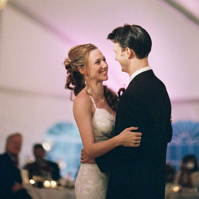 """The newlyweds took their first dance to Van Morrison's """"Sweet Thing."""
