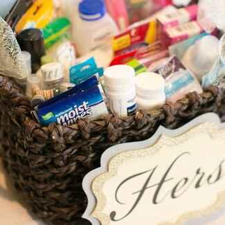 Wedding bathroom basket with sign