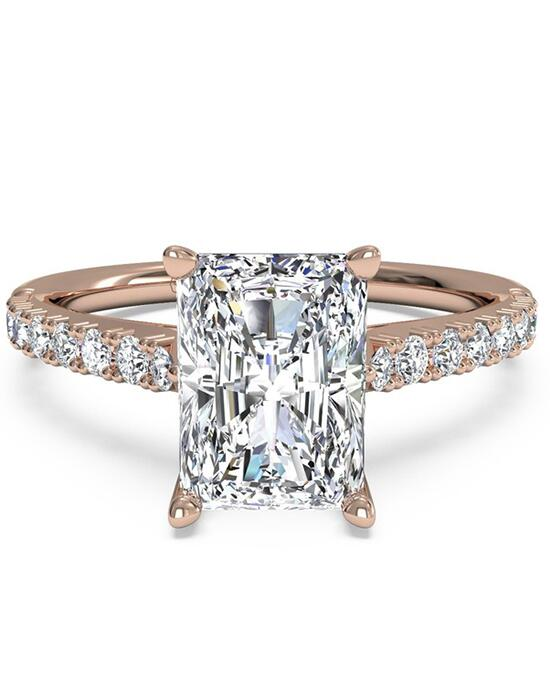 Ritani French-Set Diamond Band Engagement Ring - in 18kt Rose Gold (0.23 CTW) for a Radiant Center Stone Engagement Ring photo