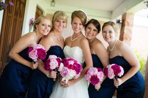 David's Bridal Short Navy Bridesmaid Dresses