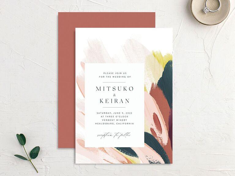 Colorful autumnal brushstroke wedding invitation budget friendly