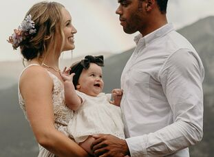 """Clare and Dez Dimond celebrated their love with a vow renewal ceremony in the Rocky Mountains. """"We really wanted to do this for our daughter and inclu"""