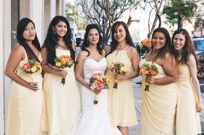 Yellow Bridesmaid Dresses, Flower Bouquets