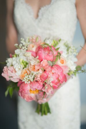 Bright Pink Peony and Stock Bouquet