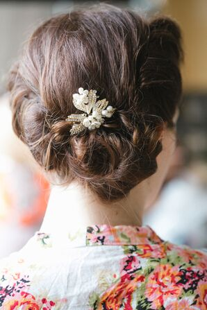 Side Updo With Pearl Hair Accessory