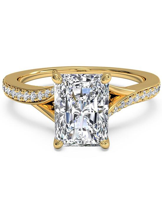 Ritani Modern Bypass Micropavé Diamond Band Engagement Ring - in 18kt Yellow Gold - (0.19 CTW) for a Radiant Center Stone Engagement Ring photo