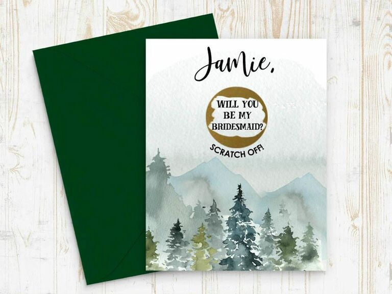 scratch off bridesmaid card with mountain design
