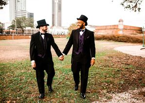 Grooms in Tails and Top Hats Pose for a Wedding Photo in Mobile, Alabama