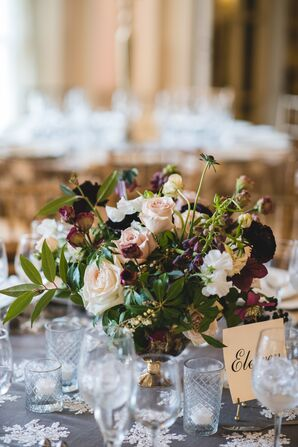 Blush and Plum Centerpieces in Vintage Gold Footed Vases