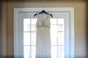 Beaded Silk Sheath Wedding Dress