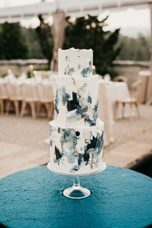 Blue-and-White Hand-Painted Three-Tier Wedding Cake