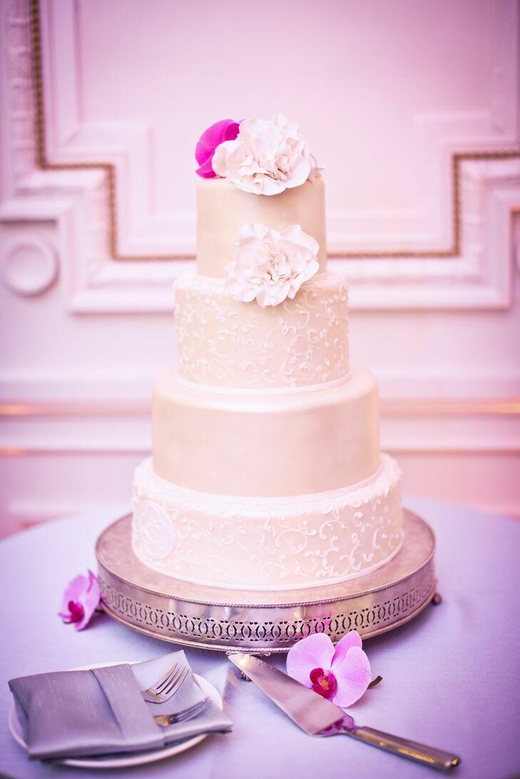 Classic White Four Tier Wedding Cake