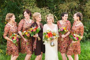 Floral Vintage Bridesmaid Dresses