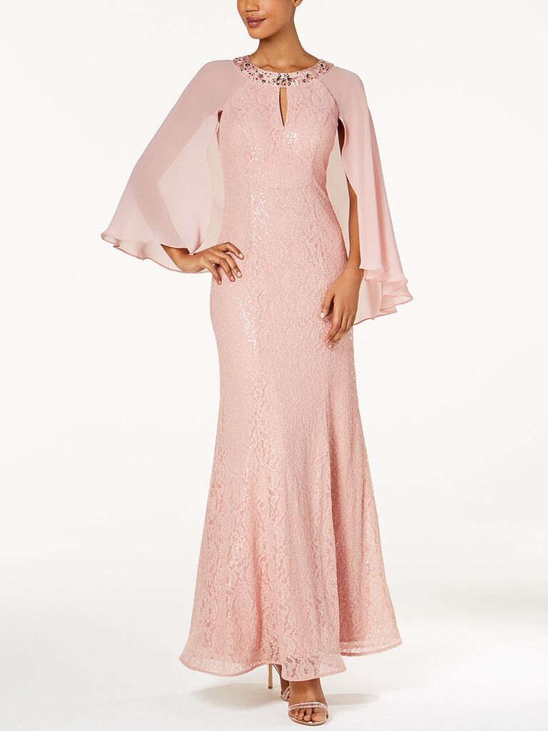 pink cape gown