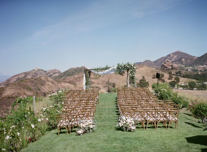 Wooden Chairs for Wedding Ceremony at Saddlerock Ranch in Malibu, California