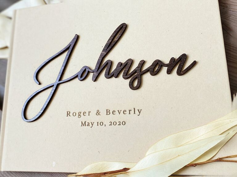 etsy personalized wedding guest book idea with custom wooden cover