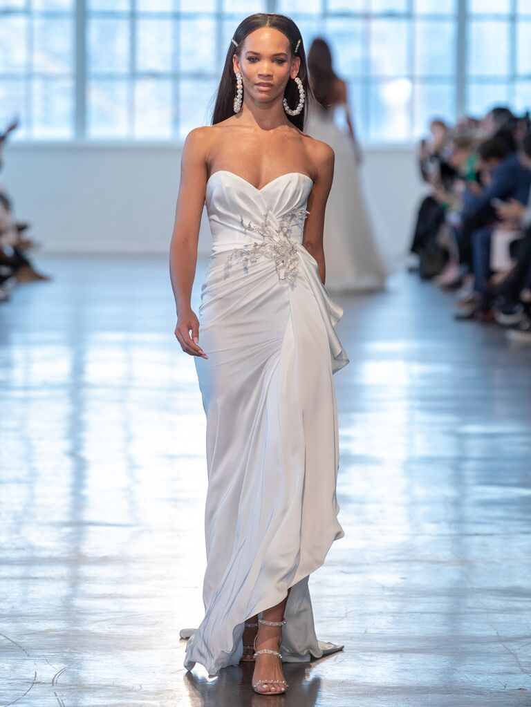 Berta Spring 2020 Bridal Collection strapless ruched wedding dress