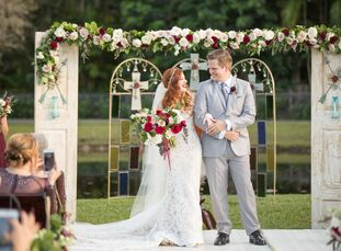 For their late winter wedding in Southern Florida, Sabrina Talamo (28 and a college dance professor) and Kyle Ringger (26 and a scientist) decided to