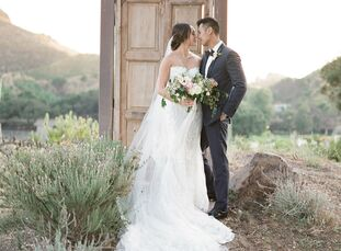 Catherine and Dan may have tied the knot in the groom's home state of California, but their inspiration was purely Tuscan. Inspired by the natural bea