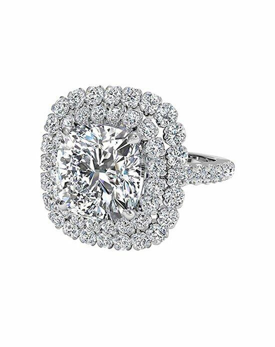 Ritani Cushion Cut Double French-Set Halo Diamond Band Engagement Ring in Platinum (0.75 CTW) Engagement Ring photo
