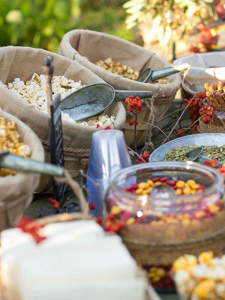 Gourmet flavored popcorn idea for wedding reception food