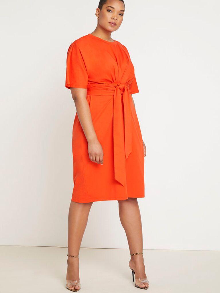 Rust orange T-shirt dress with tie front
