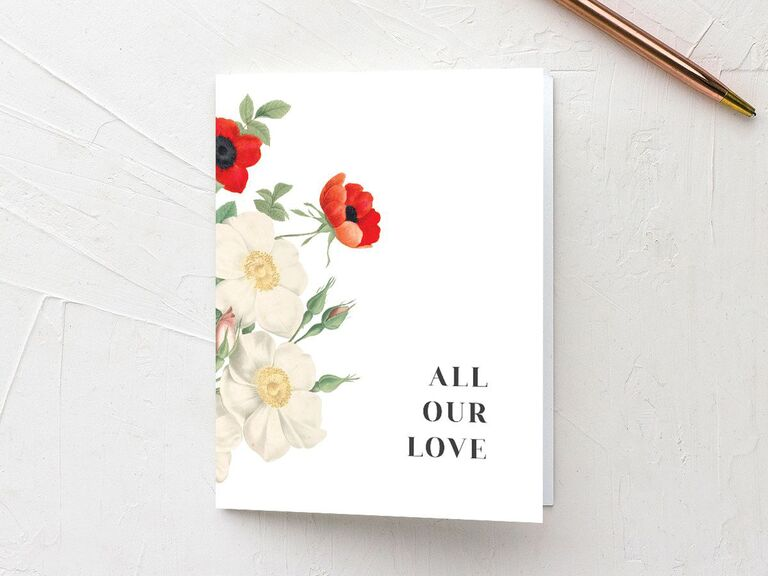 All Our Love floral bridal shower thank-you card