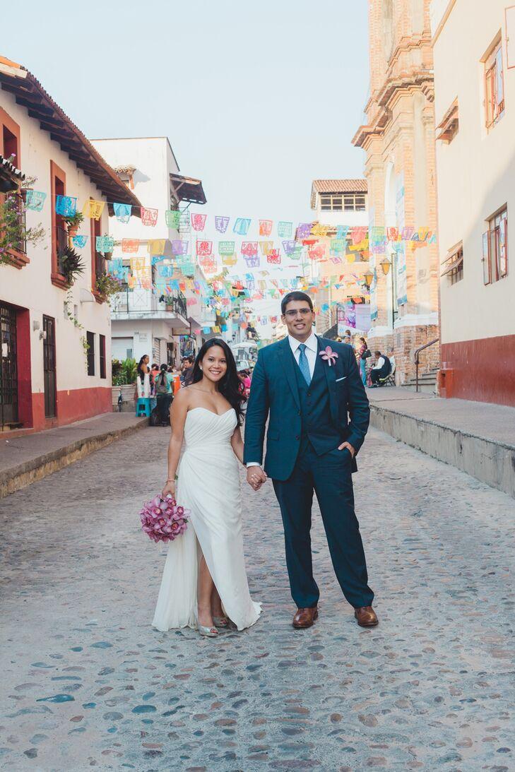Strapless Draped A-Line Wedding Dress