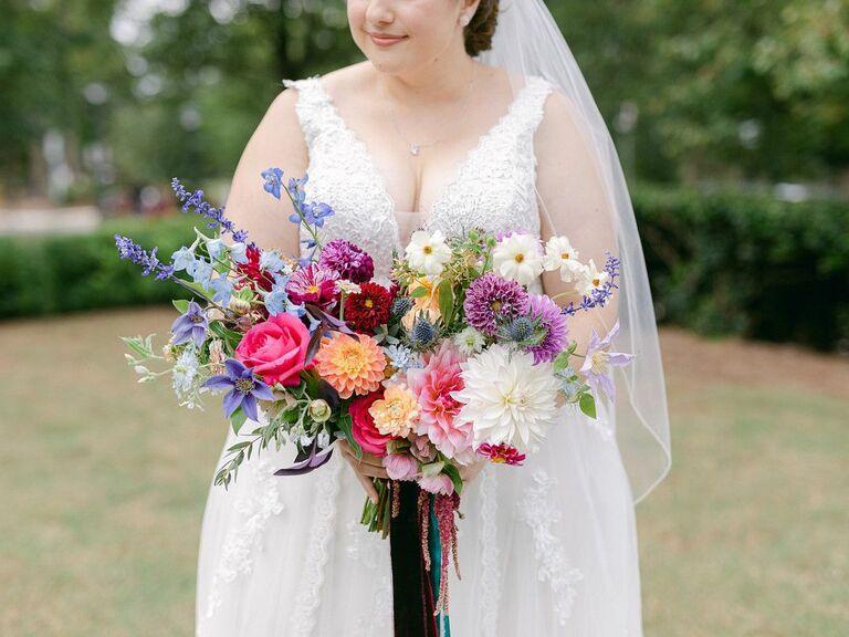 purple-and-blue wedding bouquet