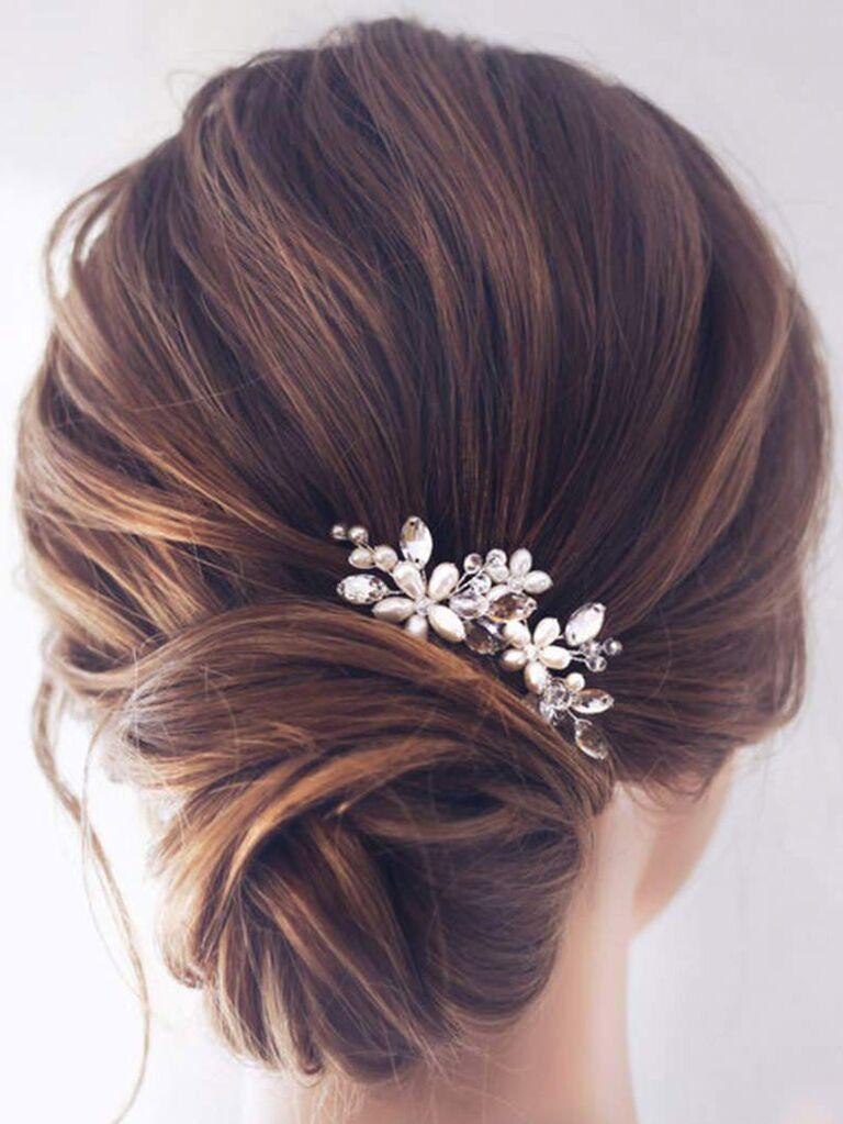 Silver wedding hair piece