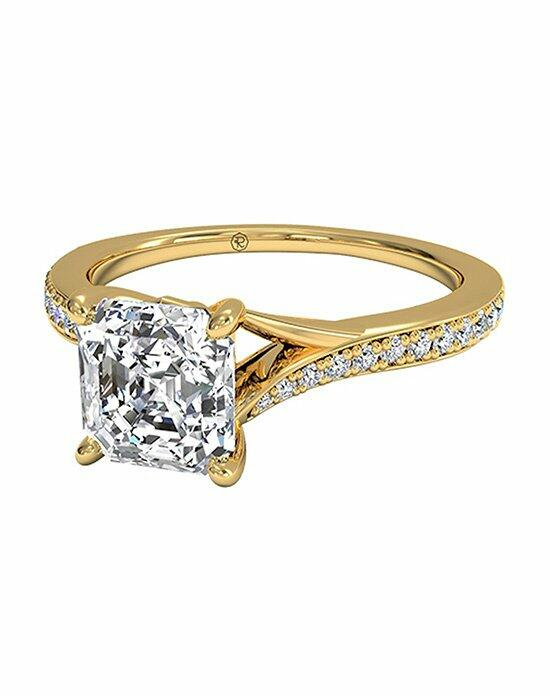 Ritani Asscher Cut Modern Bypass Micropavé Diamond Band Engagement Ring in 18kt Yellow Gold (0.19 CTW) Engagement Ring photo