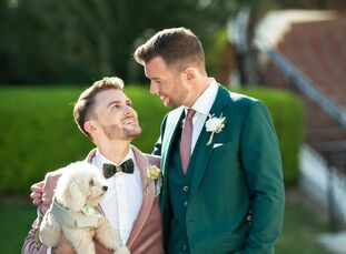 """With a background in interior design, Matthew put his creative skills to work for his wedding to Brian. """"We wanted a Palm Springs meets Santa Barbara"""