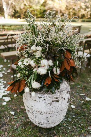 Pottery Aisle Decor at Outdoor Wedding Held Rosemary and Eucalyptus