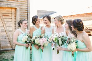 Mint Bridesmaids Dresses with Lamb's Ear Bouquets