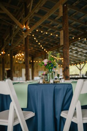 Navy and Light Green Dining Table