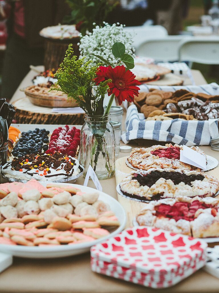 Pie, cookie and tart dessert station for a wedding reception